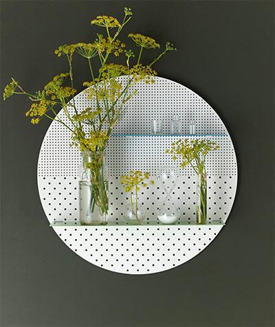 Stylish perforated wall shelves circular shape