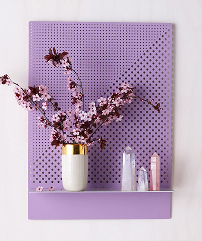 Stylish perforated wall shelves in purple color