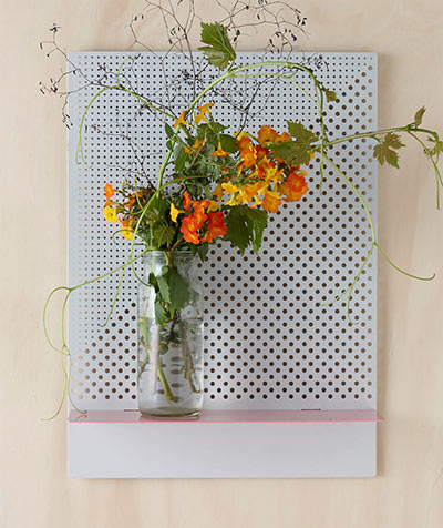 Stylish perforated wall shelves that needs rectangular bride and wolfe