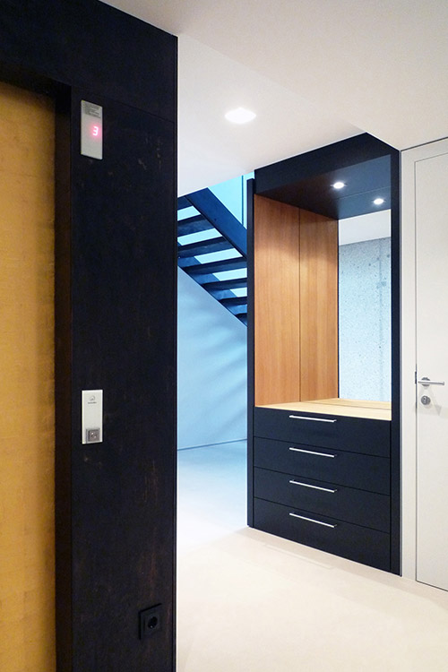 Elevator connecting all four levels of this stylish villa near Vienna