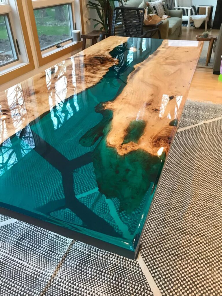 Turquoise resin river dining table - perfect for any modern home