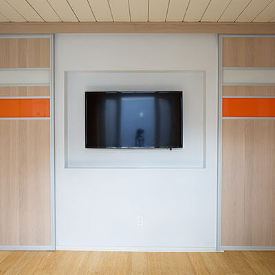 TV Room in Silicon Valley California house that gets remodeling for busy family
