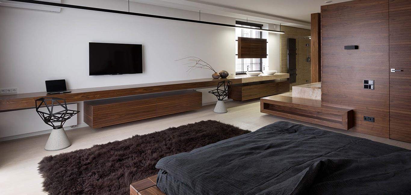 Stylish modern bedroom - Two Levels by NOTT Design studio - redesigned house in Ukraine
