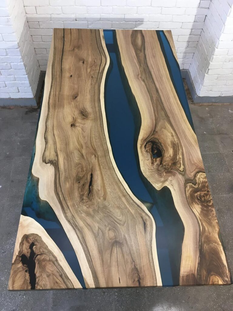 Walnut wood and blue epoxy river dining table