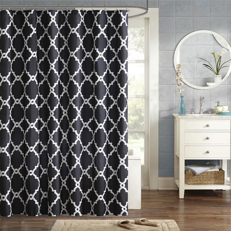 White and black patterned shower curtain to upgrade your bathroom - Laverick microfiber shower curtain AllModern