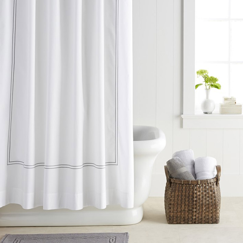 White stylish shower curtain for a modern bathroom design - Hotel Shower Curtain Williams-Sonoma
